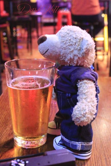 Theo enjoy s a drink at Leroys in Wellington