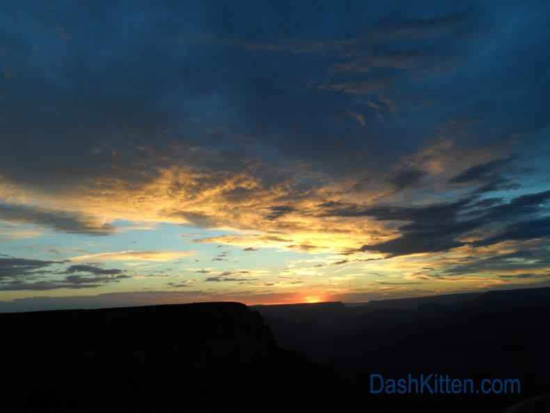Grand Canyon deep sunset showing amazing clouds