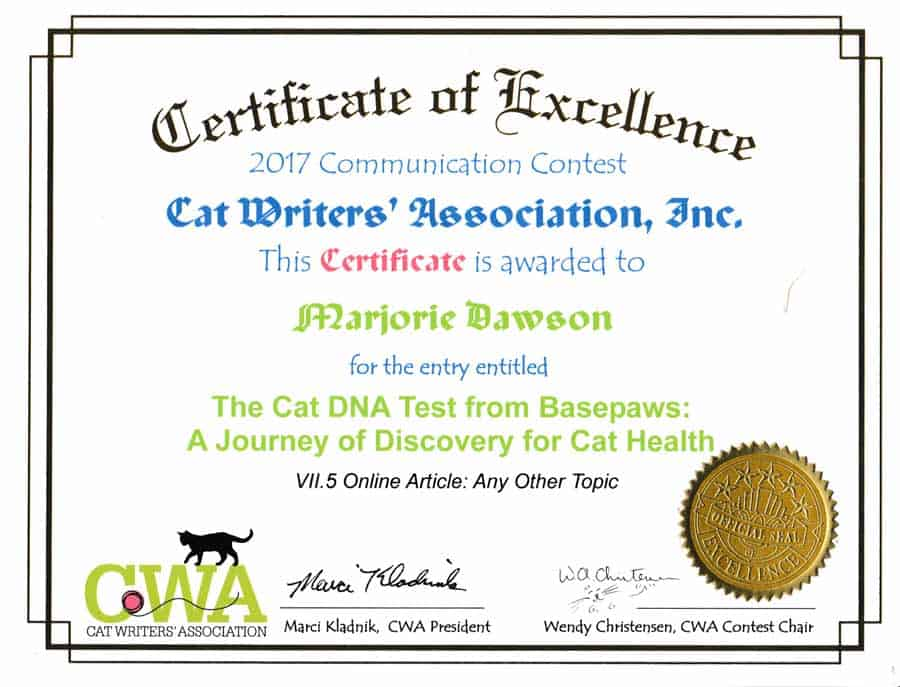 Basepaws CWA Certificate of Excllence