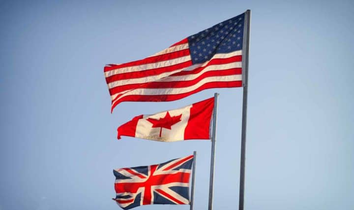 British Canadian and American flags