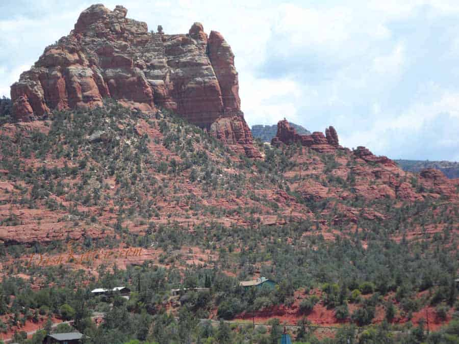 Close up snapshot of the red rocks of Sedona