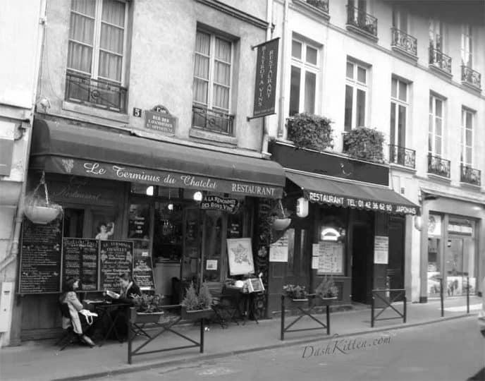 Paris Restaurant Black and White Filter
